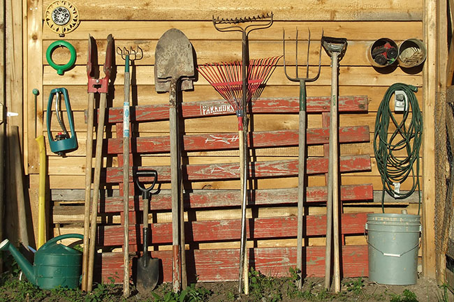 Gardening tools against a shed